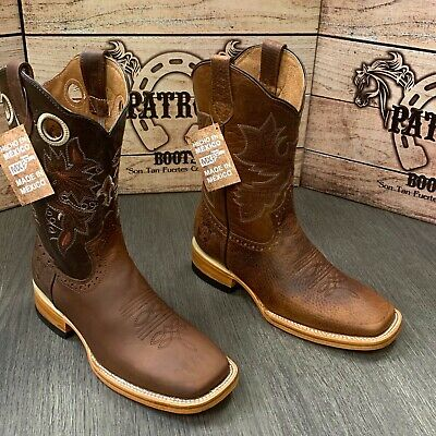 Men's Rodeo Cowboy Boots Patron Bull Dog Toe Leather Soles Cowhide Model #710