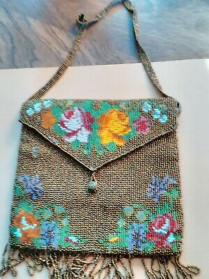 Antique Victorian style Micro Seed Glass Beaded Roses Evening Bag, Tassel