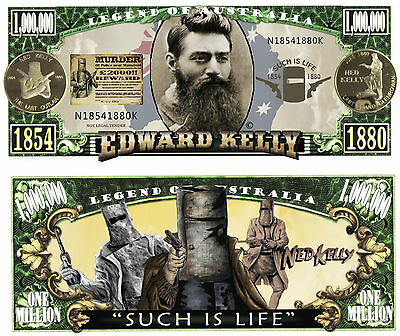 RARE: NED KELLY $1,000,000 Novelty Note, Last Outlaw, Man Cave, Guns, Glenrowan