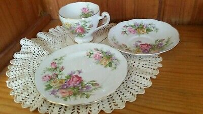 Art Deco Style Tea Cup and Saucer plate by Roslyn China, England trio royal rose