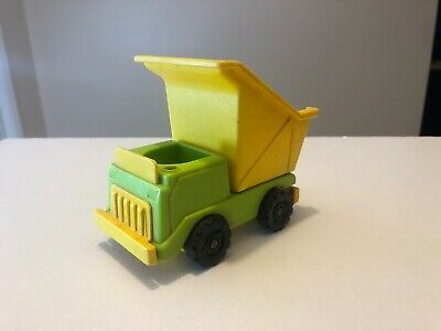 vintage Fisher Price Little People green yellow dump truck