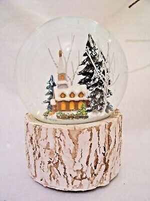 "Musical Snow Globe ""Silent Night"" Snowy Christmas Church Scene Gisela Graham"