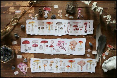 Mushroom Washi Tape Fungus Botanical Plant Vintage Watercolor Lin Chia Ning