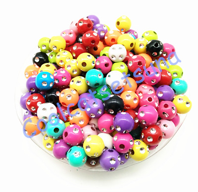 100Pcs 8mm Mixed Color Acrylic Round Spacer Loose Beads Bracelet Necklace