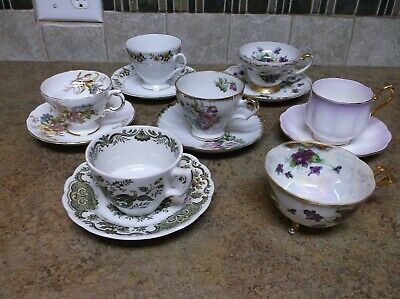 Lot of Collectible 7 Tea Cups & 6 Saucers Bone China England Japan Purple Yellow
