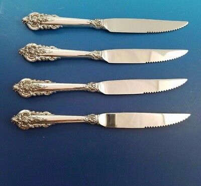 Set of 4 Grande Baroque by Wallace Sterling Serrated Steak Knives Custom Made