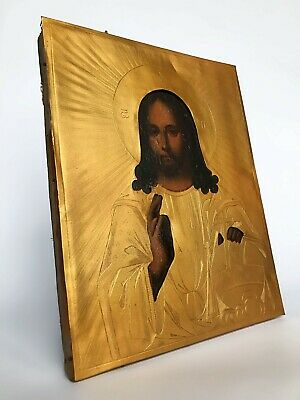 Antique Icon of Jesus Almighty  mid-19th century