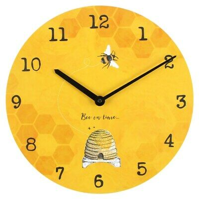 Bumble/Honey Bee Wall Clock Battery Rustic Shabby Chic Vintage gift 34cm yellow