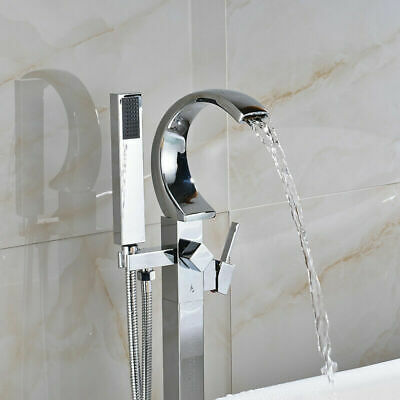 Chrome Floor Mounted Bathtub Faucet Free Standing Tub Filler W/Hand Shower