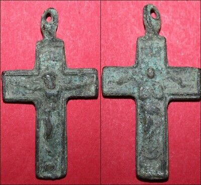 Early Medieval bronze cross relic green patina
