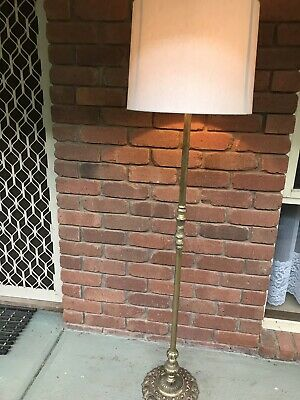 Antique Brass Floor Lamp Beautiful Design With Shade Solid Brass Very Heavy Work