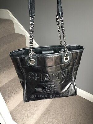 Chanel Deauville Glaze Calf Tote Shopping Bag Small