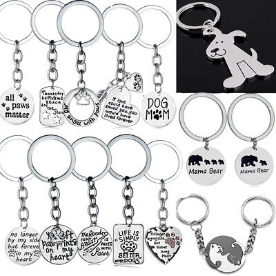 Personalised Keychain Paw Prints Cat Dog Pet Memory Loss Present Gift Key Chain