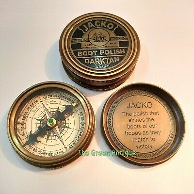 "ROSS LONDON Antique Brass Jacko Boot Polish Sundial Compass 2.5/"" Antique Gift"