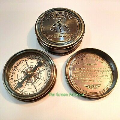 Antique Brass Compass Boy Scout Maritime Collectible Gift