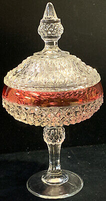 pedastol candy dish with lid clear glass red border (SH19)