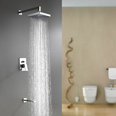 Chrome Combo Shower Faucet 8 inch Square Shower Head With Tub Filler Mixer Tap