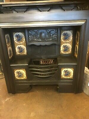 Original Victorian Cast Iron Tiled Fireplace