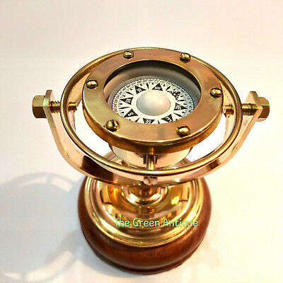 Antique Brass Gimble Compass Wood Base Maritime Collectible Gift