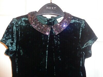 Next Girls Green Crushed Velvet Party Dress - 7 Years