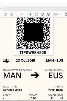 2 xpeople Manchester to London Sunday 20 October 10:20am emailed to buyer