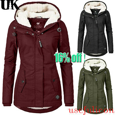 Womens Fur Lined Jacket Coats Ladies Outerwear Super Warm Winter Parka Overcoat