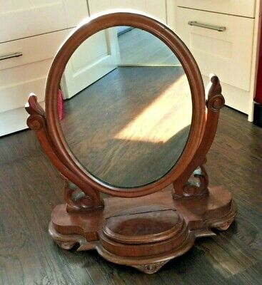 Victorian Wood Dressing Table Swing Mirror with Inner Storage Area