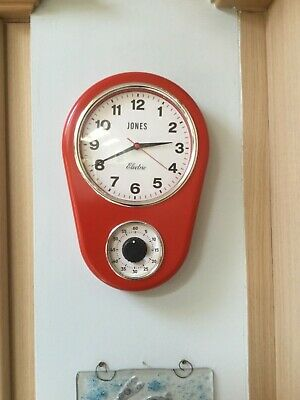 Vintage/Retro Kitchen Clock with Timer by Jones London . Red. Battery operated.