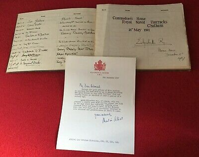 Navy History,Visitors Book.signed By Queen,Prince Phillip,Queen Mother.1931-1971
