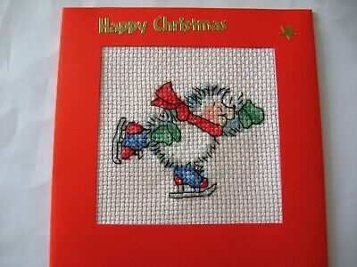 "Christmas Card Completed Cross Stitch Hedgehog Skating 5.5""sq"