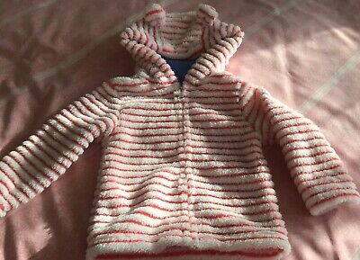 Mothercare Girls Hooded Zip Up Top,Brand New Age 18-24 Months,Coral And White.