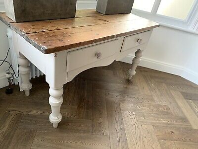 Antique Victorian Pine Farmhouse Table With Original Glass Drawer Knobs