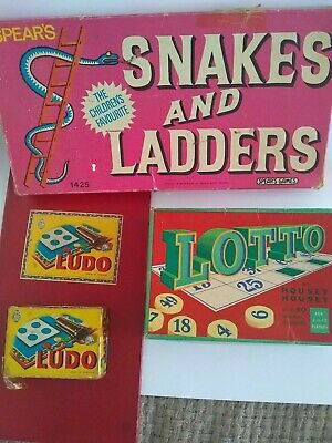 Vintage Board Games - Ludo, Snakes & Ladders and Lotto (Housey Housey)