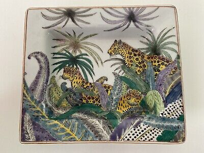 Vintage, Chinese Hand Painted Dish, leopard Design, Red Back Stamp