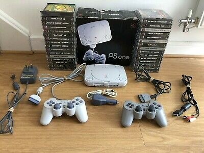 Sony PSone PS1 BOXED Bundle & 2 Controllers & 32 PlayStation GAMES + FREE P&P