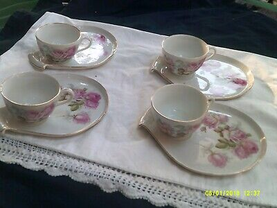 Vintage Set of Four (4) German Cups and Plates