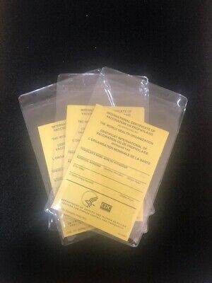 OFFICIAL International Certificate of Vaccination -Pack of 3 with plastic covers