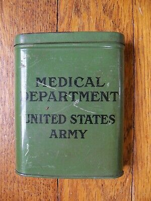 Vintage WW2 US Army Medical Department First Aid Tin