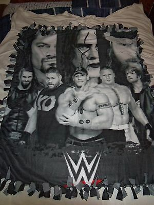 Wwe Wrestling Limited Collectors Hand Tied Double Sided Fleece Rag Blanket~New