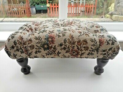 Small Footstool With Padded & Buttoned Tapestry Top. On  Wooden Legs