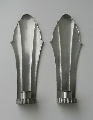 Antique Vintage 2 Pewter Wall Sconces Reed & Barton Mid 20th C Classic Art Deco