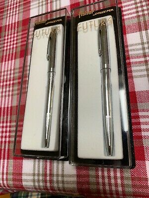 Two New (in Futura Boxes) Fisher Cap-o-Matic Pens - Chrome by Fisher Space Pens