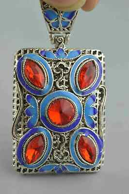 Handwork Collectable Miao Silver Carve Flower Inlay Agate Lucky Usable Pendant