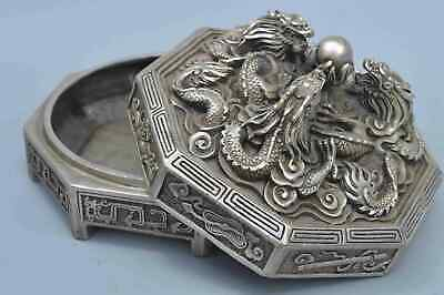 Chinese Collectable Handwork Old Miao SIlver Carve Ancient Dragon Exorcism Box