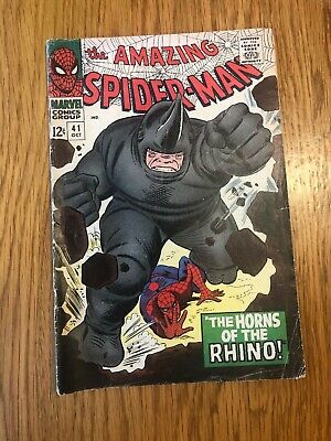 The Amazing Spider-Man 41 Comic Book 1st Rhino Silver Age rare Marvel 1960s