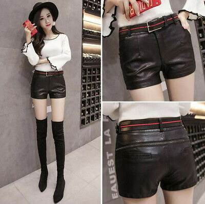 Sexy Womens Lady Belt Faux Leather Look High Waist Casual Party Hot Shorts Pants
