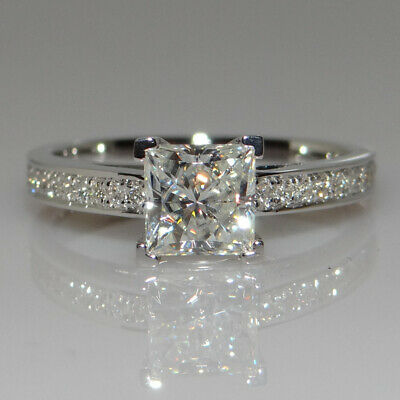 925 Silver 1CT White Sapphire Birthstone Princess Wedding Ring Promise Jewelry