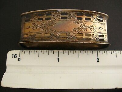 NAPKIN RING STERLING SILVER Antique Bright-Cut on Lattice Front