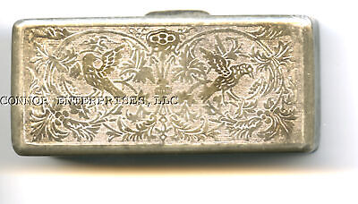 19Th C Pewter Snuff Box, No Makers Mark Excel Cond Bird/Flower Decor T/B 1010