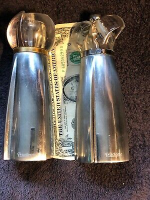 """Chrome Neove Design Ceramic Salt And Pepper Grinders 6 1/2"""" Tall-Pre Owned-Nice*"""